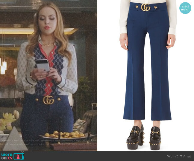 GG-Detail Flare Pants by Gucci worn by Fallon Carrington (Elizabeth Gillies) on Dynasty