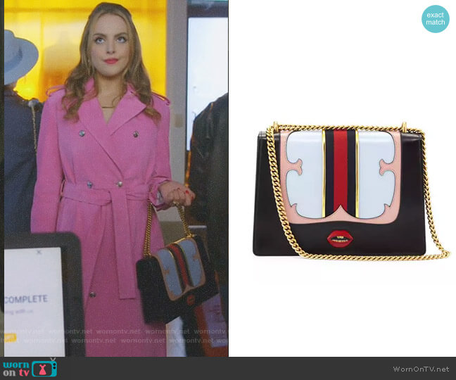 GG Marmont Medium Web Heart Shoulder Bag by Gucci worn by Elizabeth Gillies on Dynasty