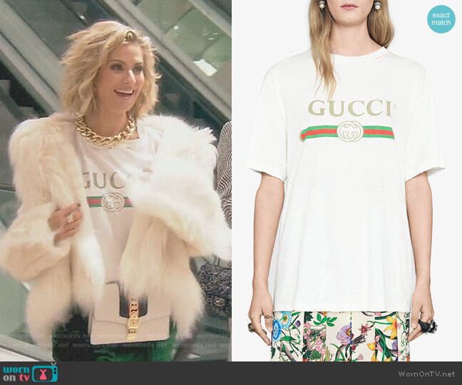 Gucci Logo Cotton T-Shirt by Gucci worn by Dorit Kemsley on The Real Housewives of Beverly Hills