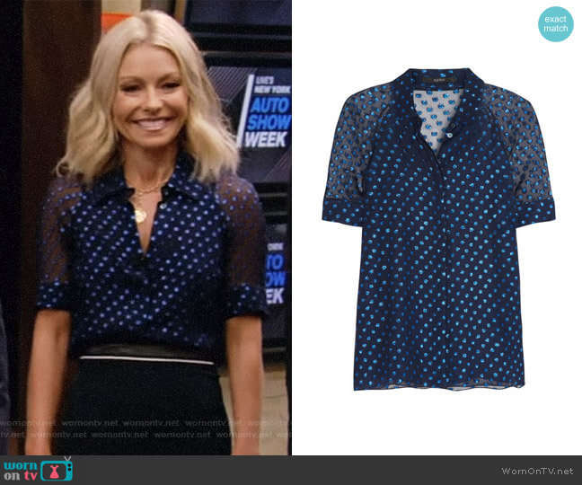 Polka-Dot Chiffon Blouse by Gucci worn by Kelly Ripa on Live with Kelly & Ryan