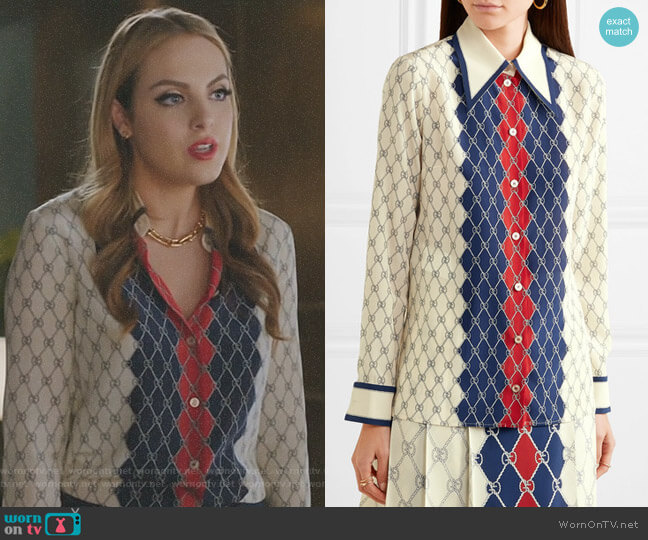 Printed Washed-Silk Shirt by Gucci worn by Fallon Carrington (Elizabeth Gillies) on Dynasty