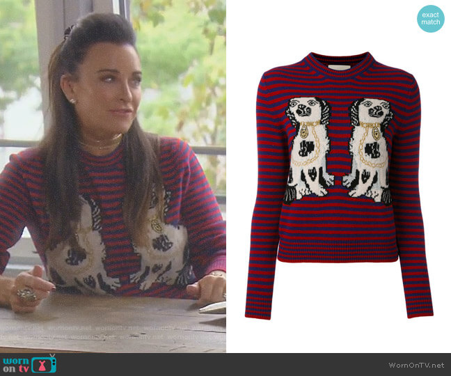 Dog Patch Stripe Top by Gucci worn by Kyle Richards  on The Real Housewives of Beverly Hills