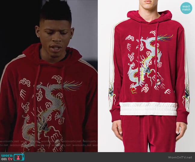 Dragon Applique Velvet Hoodie by Gucci worn by Bryshere Y. Gray on Empire