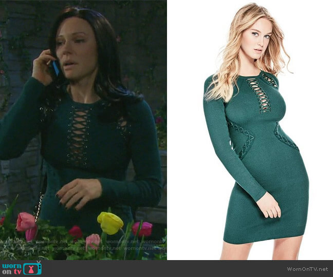 Cary Lace-up Sweater Dress by Guess worn by Marci Miller on Days of our Lives