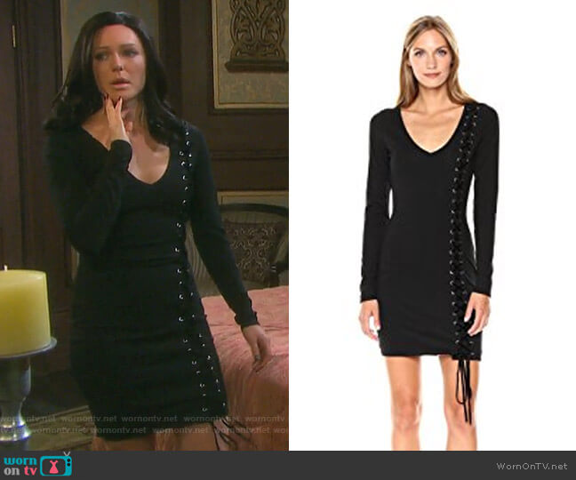 Long Sleeve Genna Lace-up Dress by Guess worn by Marci Miller on Days of our Lives