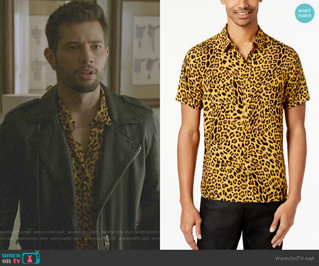 Leopard-Print Shirt by Guess worn by Sam Flores (Rafael de la Fuente) on Dynasty