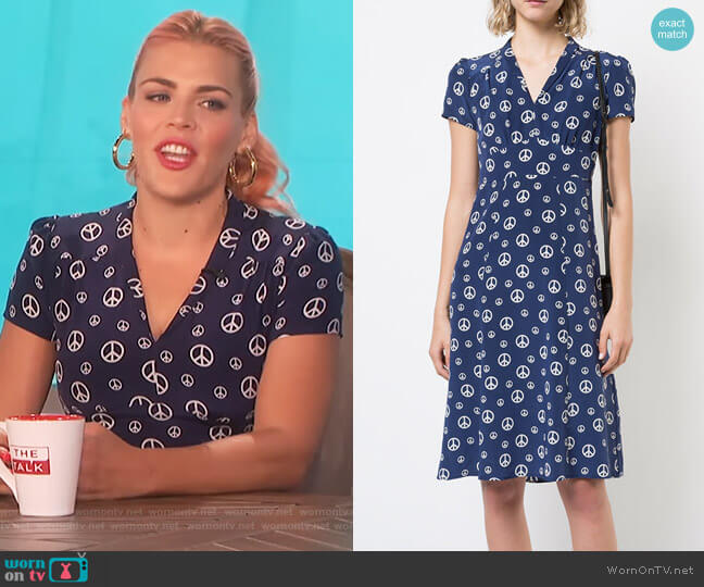 Navy Peace Sign Morgan Dress by Harley Viera Newton worn by Busy Phillips on The Talk