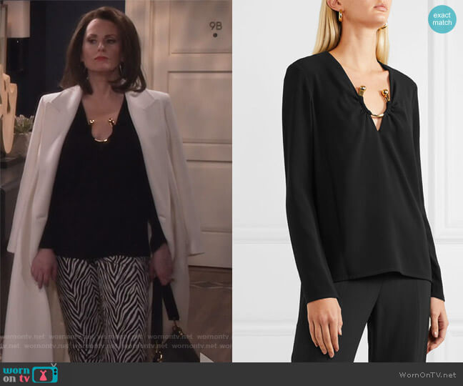 Janelle Embellished Crepe Top by Haney worn by Megan Mullally on Will & Grace