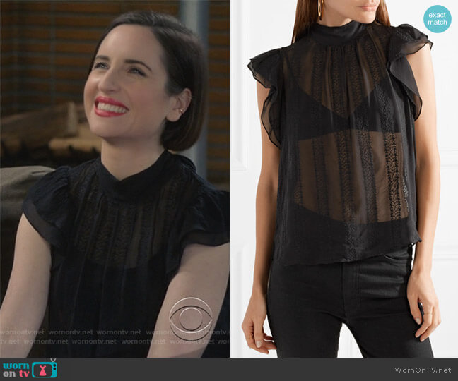 Heddy embroidered silk-georgette top by Ulla Johnson worn by Jennifer Short (Zoe Lister-Jones) on Life in Pieces