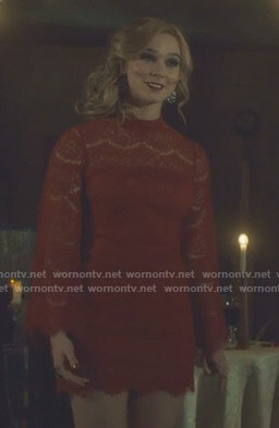 Heidi McKenzie's red lace mini dress on Shadowhunters