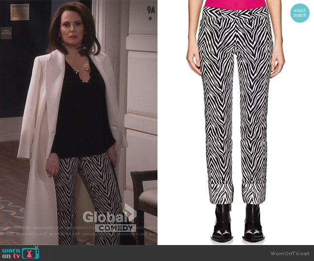 Motley Cotton-Silk Cuffed Pants by Helmut Lang worn by Megan Mullally on Will & Grace