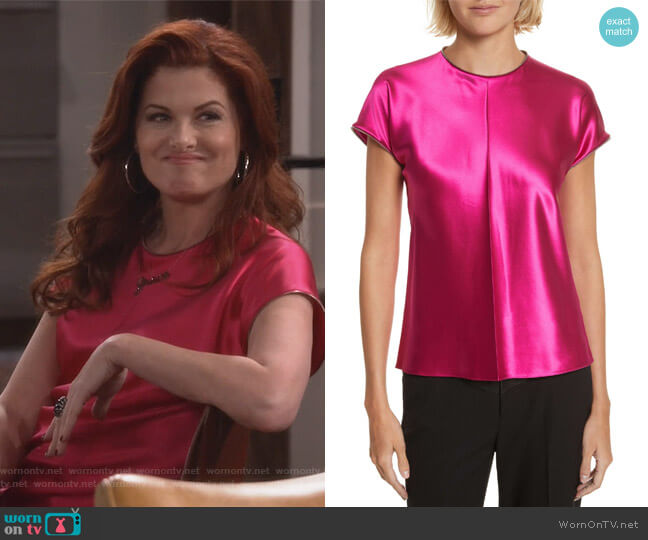 Zipper Detail Lacquered Silk Top by Helmut Lang worn by Grace Adler (Debra Messing) on Will & Grace