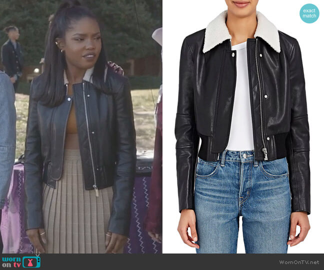 Leather Crop Bomber Jacket by Helmut Lang worn by Alexandra Crane (Ryan Destiny) on Star