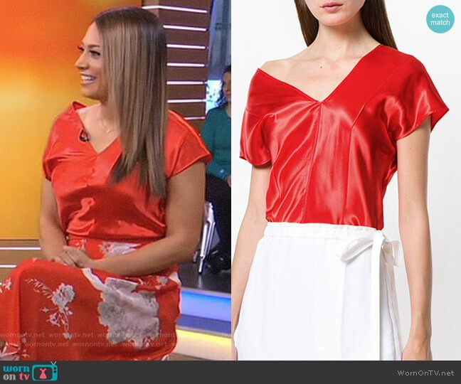 Dropped Shoulder T-Shirt by Helmut Lang worn by Ginger Zee (Ginger Zee) on Good Morning America