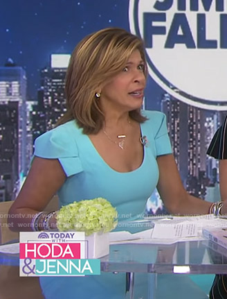 Hoda's blue cap sleeve scoop neck dress on Today