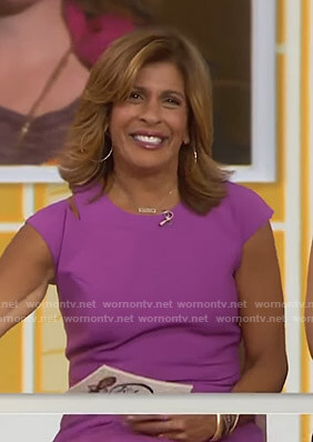 Hoda's purple cutout sheath dress on Today