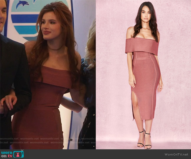 'Danae' Vintage Rose Off The Shoulder Dress by House of CB worn by Bella Thorne on Famous in Love