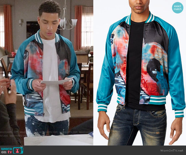 Hypnotize Biggie Graffiti Bomber Jacket  worn by Marcus Scribner on Blackish