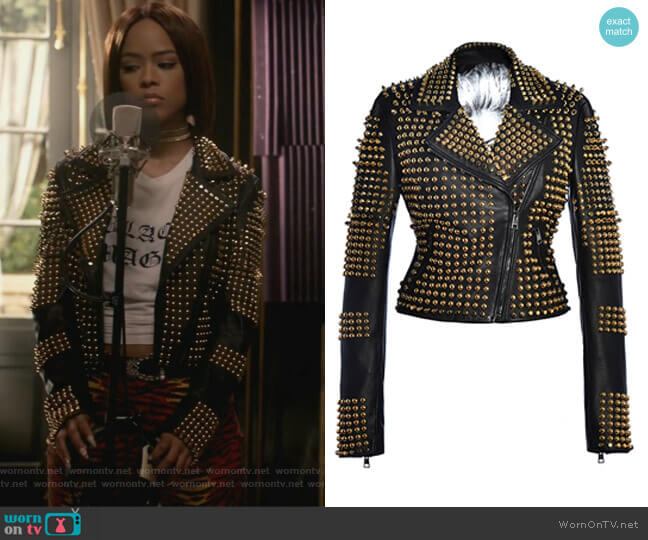 Angelina Gold Jacket by Hysideis worn by Tiana Brown (Serayah McNeill) on Empire