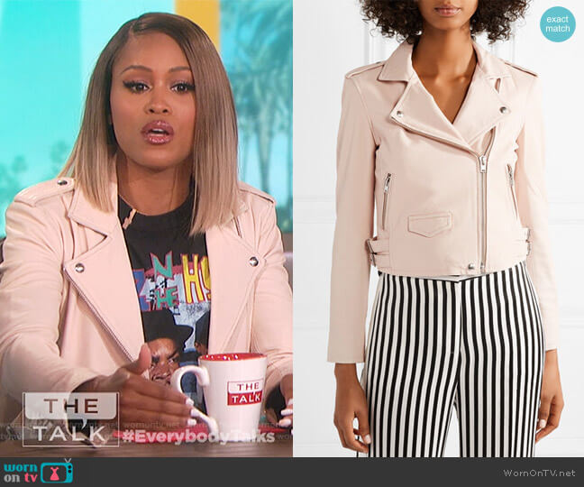 Ashville leather biker jacket by IRO worn by Eve  on The Talk