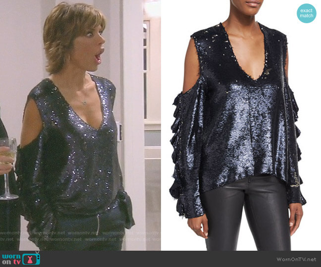 'Waleast' Sequin Top by IRO worn by Lisa Rinna on The Real Housewives of Beverly Hills