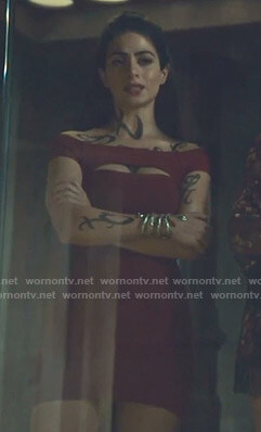 Isabelle's red cutout bodycon dress on Shadowhunters