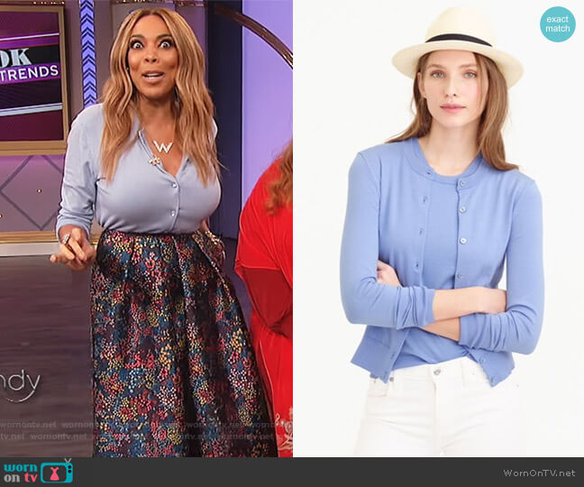 Cotton Jackie cardigan sweater by J. Crew worn by Wendy Williams (Wendy Williams) on The Wendy Williams Show