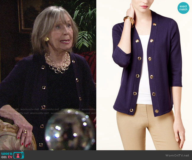 JM Collection Grommet-Trim Open Cardigan worn by Dina Mergeron (Marla Adams) on The Young & the Restless