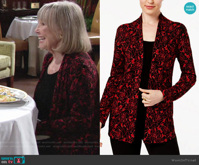 JM Collection Layered-Look Printed Top worn by Dina Mergeron (Marla Adams) on The Young & the Restless