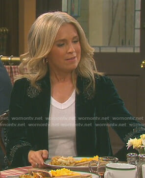 Jennifer's green embellished velvet jacket on Days of our Lives