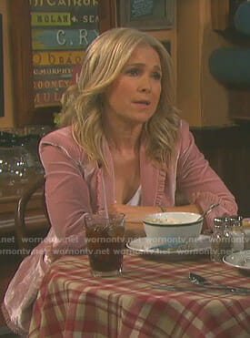 Jennifer's pink velvet ruffled jacket on Days of our Lives