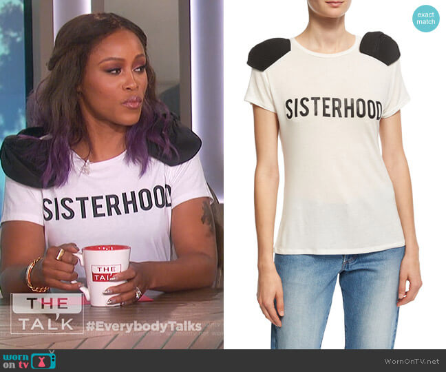 Sisterhood Bow-Shoulder T-Shirt by Johanna Ortiz worn by Eve on The Talk