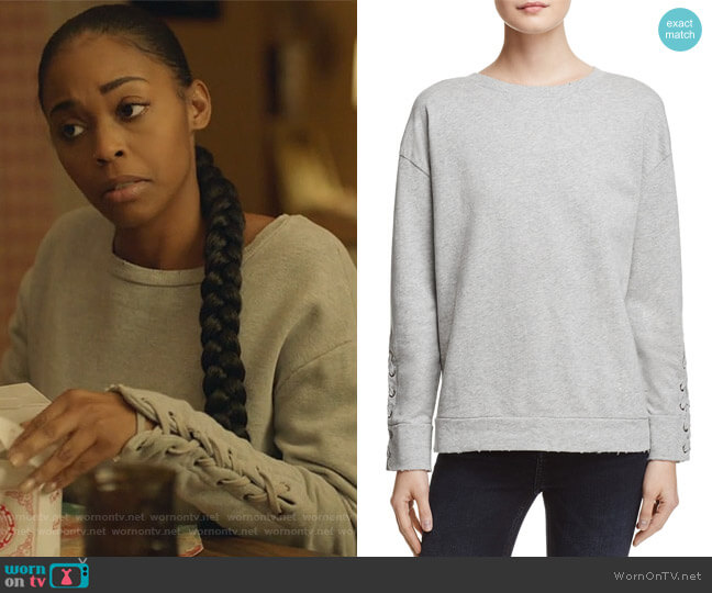 Miaya Lace-Up Sleeve Sweatshirt by Joe's Jeans worn by Anissa Pierce (Nafessa Williams) on Black Lightning