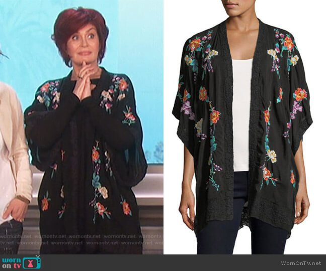 Classic Calla Embroidered Georgette Kimono by Johnny Was worn by Sharon Osbourne  on The Talk