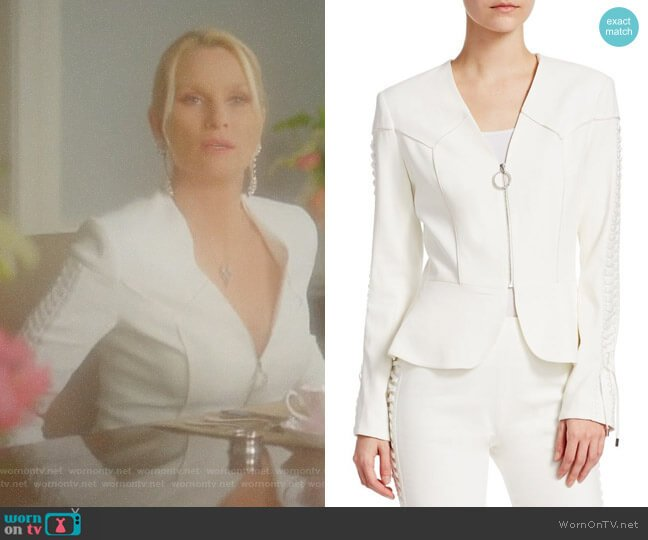 Crepe Peplum Blazer by Jonathan Simkhai worn by Nicollette Sheridan on Dynasty