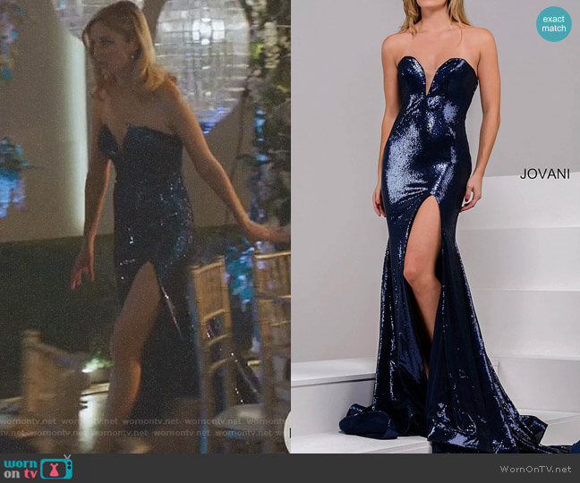 High Slit Sequin Dress by Jovani worn by Caitlin FitzGerald on UnReal