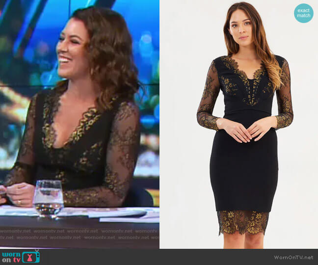 Lace Panel Pencil Dress by Karen Millen worn by Gorgi Coghlan on The Project