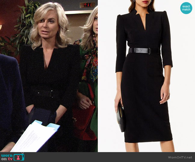 Karen Millen Leather Belt Pencil Dress  worn by Eileen Davidson on The Young & the Restless