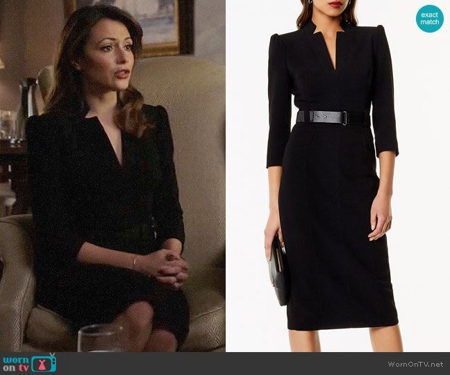 Karen Millen Leather Belt Pencil Dress worn by Emily Rhodes (Italia Ricci) on Designated Survivor