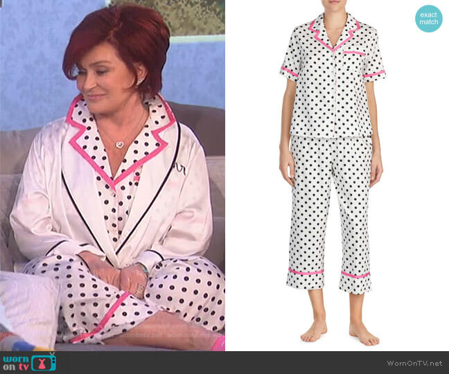 Cropped Sateen Pajamas by Kate Spade worn by Sharon Osbourne on The Talk