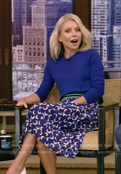 Kelly's blue floral skirt on Live with Kelly and Ryan