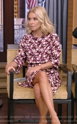 Kelly's floral print dress with ruffled cuffs on Live With Kelly