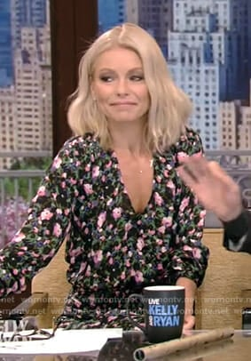 Kelly's floral v-neck dress on Live with Kelly and Ryan