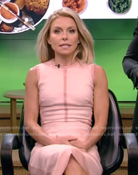 Kelly's pink sleeveless sheath dress on Live with Kelly and Ryan