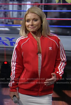 Kelly's red Adidas track jacket on Live with Kelly and Ryan