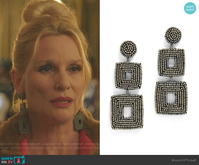 Double Square Earrings by Kenneth Jay Lane worn by Nicollette Sheridan on Dynasty