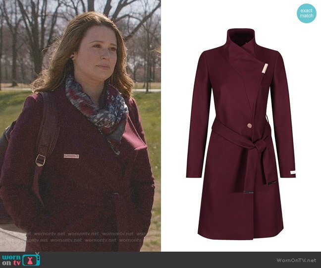 Kikiie Coat in Maroon by Ted Baker worn by Katie Lowes on Scandal