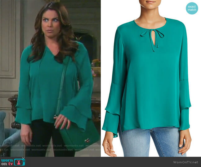 Marnie Bell Sleeve Silk Blouse by Kobi Halperin worn by Nadia Bjorlin on Days of our Lives
