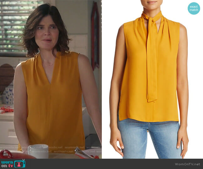 Tie Neck Sleeveless Silk Blouse by Kobi Halperin worn by Betsy Brandt on Life in Pieces