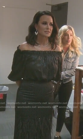 Kyle's black diamond print off-shoulder dress on The Real Housewives of Beverly Hills